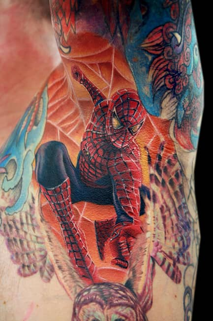 4 great spiderman tattoos that will look amazing crazy art. Black Bedroom Furniture Sets. Home Design Ideas
